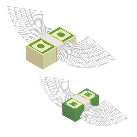 dinero volando: Dinero con alas. Paquetes de dinero volando alrededor. Ilustración vectorial
