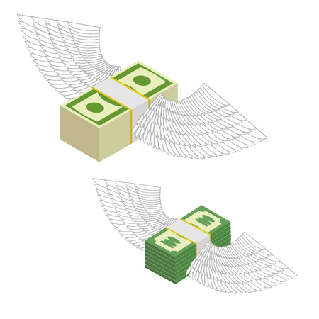 dividend: Money with wings. Bundles of money flying around. Vector illustration Vettoriali