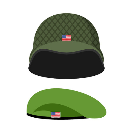 army: Green Beret. Army helmet. Military set of headgear. Vector illustration