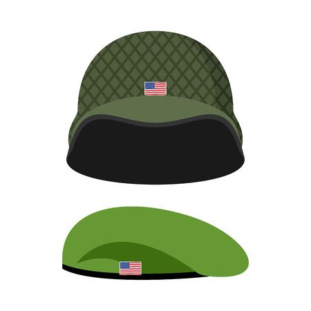 Green Beret. Army helmet. Military set of headgear. Vector illustration