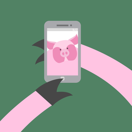 hoof: Selfie makes a pig. Farm animal photographs themselves. Vector illustration. Hoof push buttons of your Smartphone.