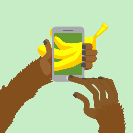 posting: Monkey banana shoots. Posting to Internet a photo of  food. Animal clicks to your Smartphone with your fingers. Vector illustration.