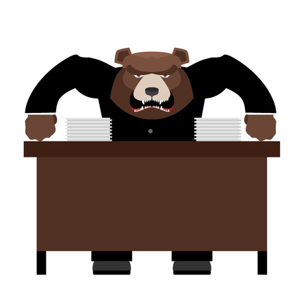 wicked: Angry Boss bear scolds. Wicked head yelling at staff. Vector illustration of Office life.