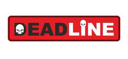 period: Deadline- end of  period. skull Sticker. Vector illustration
