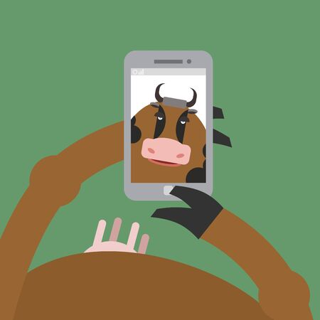 hoof: Selfie cow. Animal is photographed on  phone. Smartphone in  hoof. Vector illustration of a farm animal. Udder cow animal. Illustration