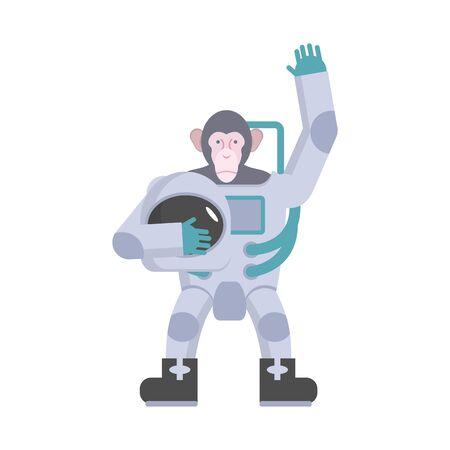 monkey suit: Monkey astronaut waving hand. Animal suit keeps helmet. Vector illustration Illustration