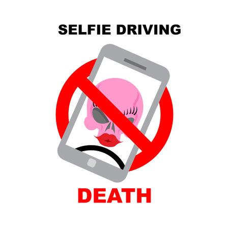 interdiction telephone: Inscrivez interdiction de selfie. Barr� t�l�phone avec le cr�ne. Selfie conduite m�ne � la mort. Vector illustration