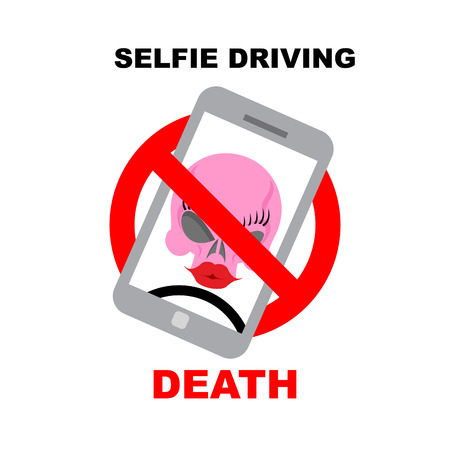 strikethrough: Sign  ban on selfie. Strikethrough phone with skull. Selfie driving leads to death. Vector illustration