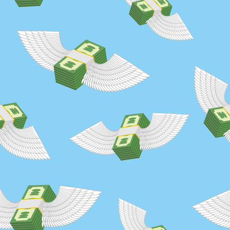 remittance: Winged money seamless pattern. Cash in blue sky. Vector background Illustration