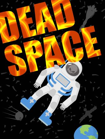 spacesuit: Dead space. Astronaut died. Skull in a spacesuit. Black universe of loneliness. Vector illustration Illustration