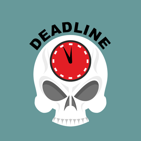 Deadline. Skull with a clock. Not enough time. Vector illustration Illustration