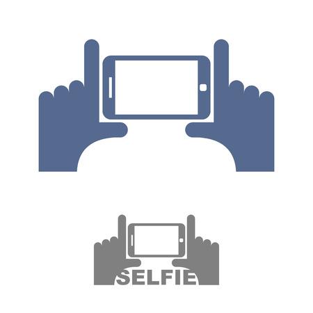 Selfie Logo. Registrieren Emblem nach einem Foto am Telefon. Hände und ein Smartphone. Vektor-Illustration