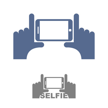phone symbol: Selfie Logo. Sign emblem for a photo on phone. Hands and a Smartphone. Vector illustration