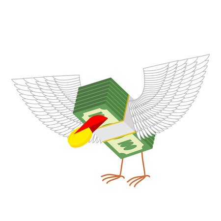 eats: Money with wings eats gold coins. Vector illustration Illustration