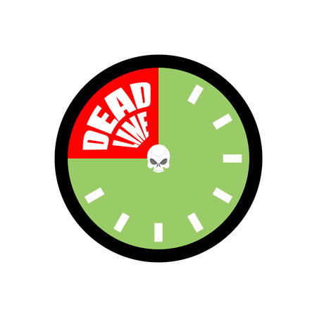 Deadline. Ends up being on clock. Vector illustration