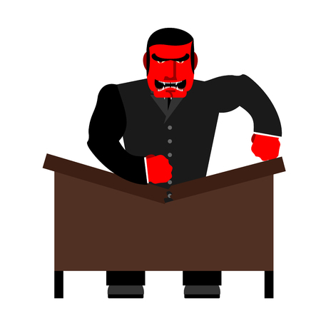 scold: Big boss broke a table. Red Businessman as loud in Office. Vector illustration of a man.