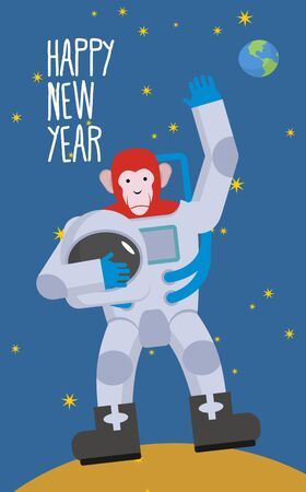 Red Monkey astronaut waving hand. Happy new year. Chimpanzees in spacesuit stands on  Moon in space. Vector illustration