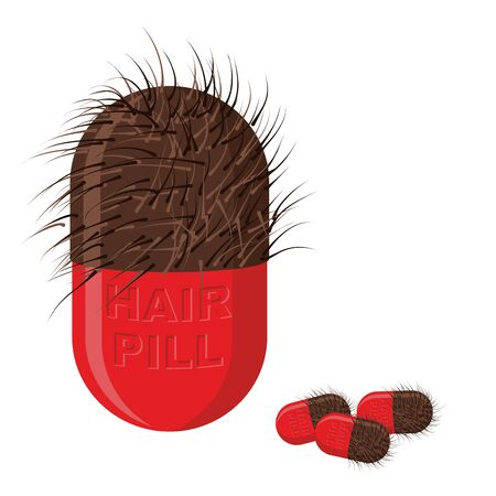 hairy: Pills for hair growth. Hairy tablet. Vector illustration of medicines Illustration