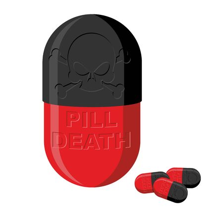 overdose: Tablet with a skull. Pill death. Medical product vector illustration.