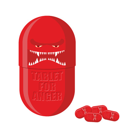 Pill of anger. Red Tablet with a scary face. Medicine with for ferocity. Vector illustration. Ilustrace