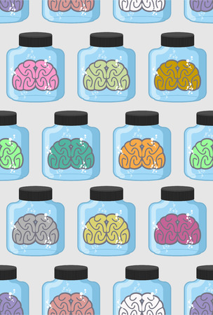 Laboratory examination  brains seamless pattern in jar. Color organs brains vector background Illustration