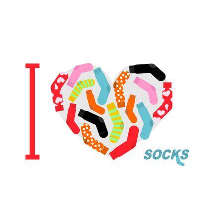 white socks: I love clean socks. Heart symbol of colored clean socks. Vector illustration