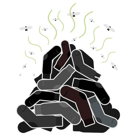 hosiery: Mount old dirty socks, with flies. Vector illustration