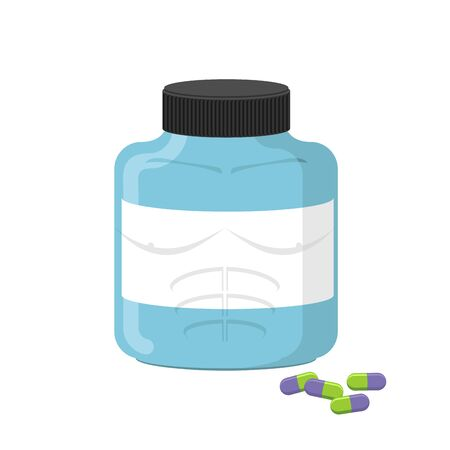 supplementation: Sports nutrition container, bodybuilding supplements. Dope capsules. Vector illustration