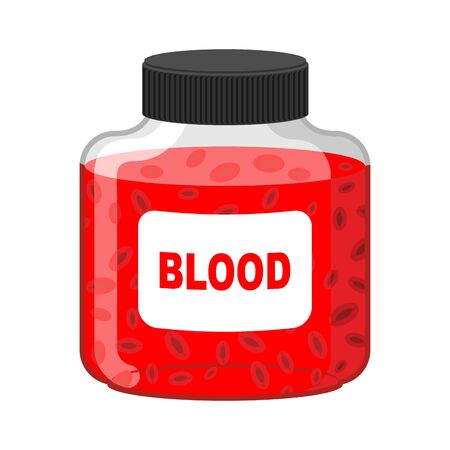world group: Blood Bank. Bottle of Red liquid-lymph. Vector illustration. Gift vampire Illustration