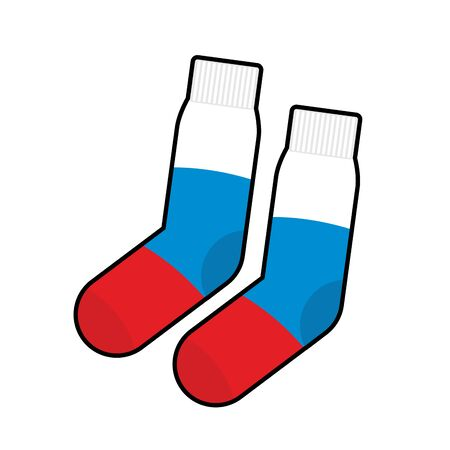 russian flag: Socks Patriot of Russia. Clothing accessory Russian flag. Vector illustration