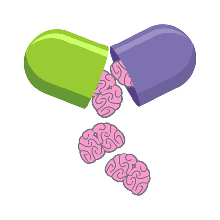 iq: Pill with brains. Tablet for mind. Medical drug to increase IQ. Vector illustration.