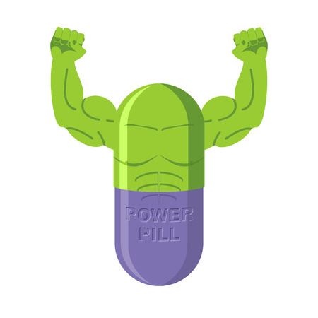 steroids: Power pills. Tablets for bodybuilding. Medication with big muscles. Vector illustration Athletic steroids Illustration
