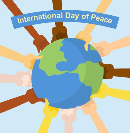 diversidad cultural: Dia Internacional de la Paz. Manos de diferentes nacionalidades que sostienen el planeta Tierra. Cartel del vector para vacaciones Vectores