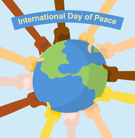 multi cultural: International day of peace. Hands of different nationalities holding planet Earth. Vector poster for holiday