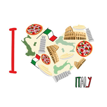 pizza place: I love Italy. Symbol heart of   attractions of Italy: pizza and pasta, Colosseum and leaning tower of Pisa. Vector illustration Illustration