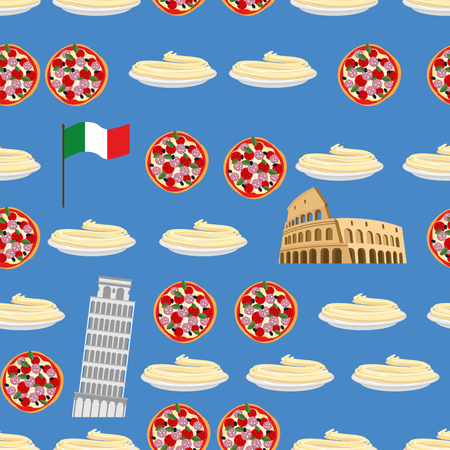 colosseum: Italy seamless pattern. Sightseeing: leaning tower of Pisa, Colosseum, and national food: pizza and pasta. Vector background of Symbols of country. Flag of Italy.