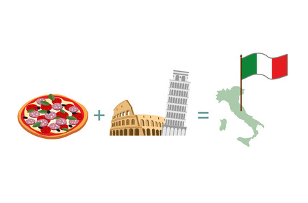 pizza place: Pizza and Italian characters attractions. Map and flag of Italy Illustration