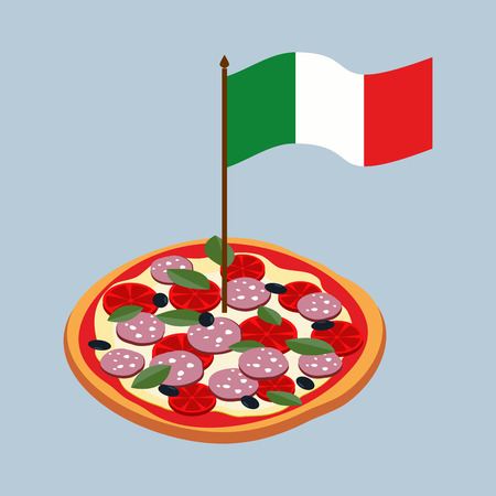 margherita: Pizza with flag of Italy. Italian national food.