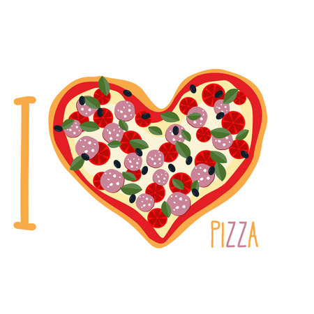 I love pizza. Heart symbol in form of pizza. Vector Italian national food.