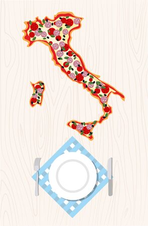 europe closeup: Top view of Italian pizza in shape of a map of Italy on a wooden table. Cutlery and napkin.