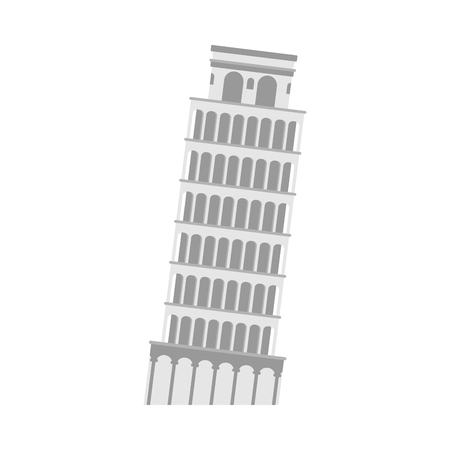 leaning tower of Pisa on a white background. Italy Landmark architecture.