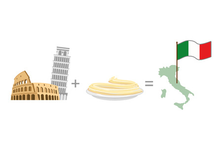 leaning tower: Colosseum and leaning tower of Pisa plus pasta Spaghetti. Symbol of Italy. Vector illustration
