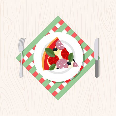 pizza ingredients: Top view of a slice of pizza on a plate. Cutlery: knife and fork. Vector illustration food Illustration