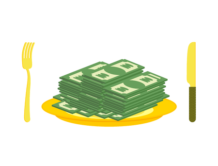 eats: Food oligarch. Bundles of money, cash eats for breakfast. Gold cutlery: knife and fork, for rich. Illustration