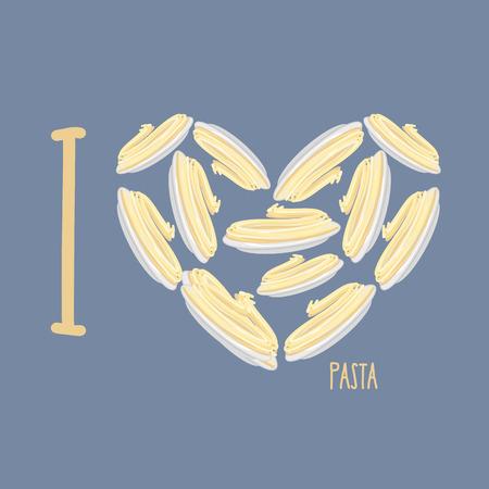 illustration of food: Me encanta la pasta. S�mbolo coraz�n de placas con espaguetis. Ilustraci�n vectorial de alimentos