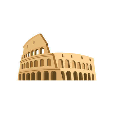 Colosseum in Rome on a white background. Italy Landmark architecture. Illustration