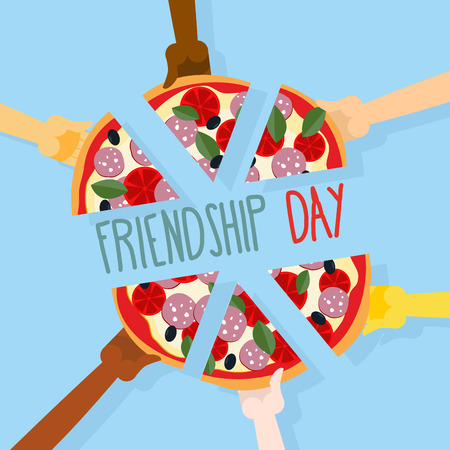 International friendship day. 30 July. Pizza pieces for friends. People eat pizza together. Vector illustration.