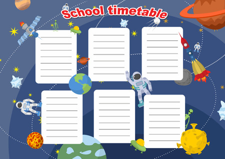 schoolbook: School timetable with space design. Lesson plans all week. Planets and rockets, astronauts and UFO.