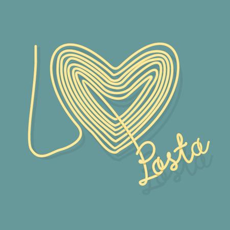 I love pasta. Spaghetti as a symbol of heart. Vector illustration food.