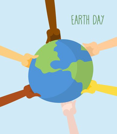 hands holding earth: Earth Day. People hands holding Earth. Vector illustration